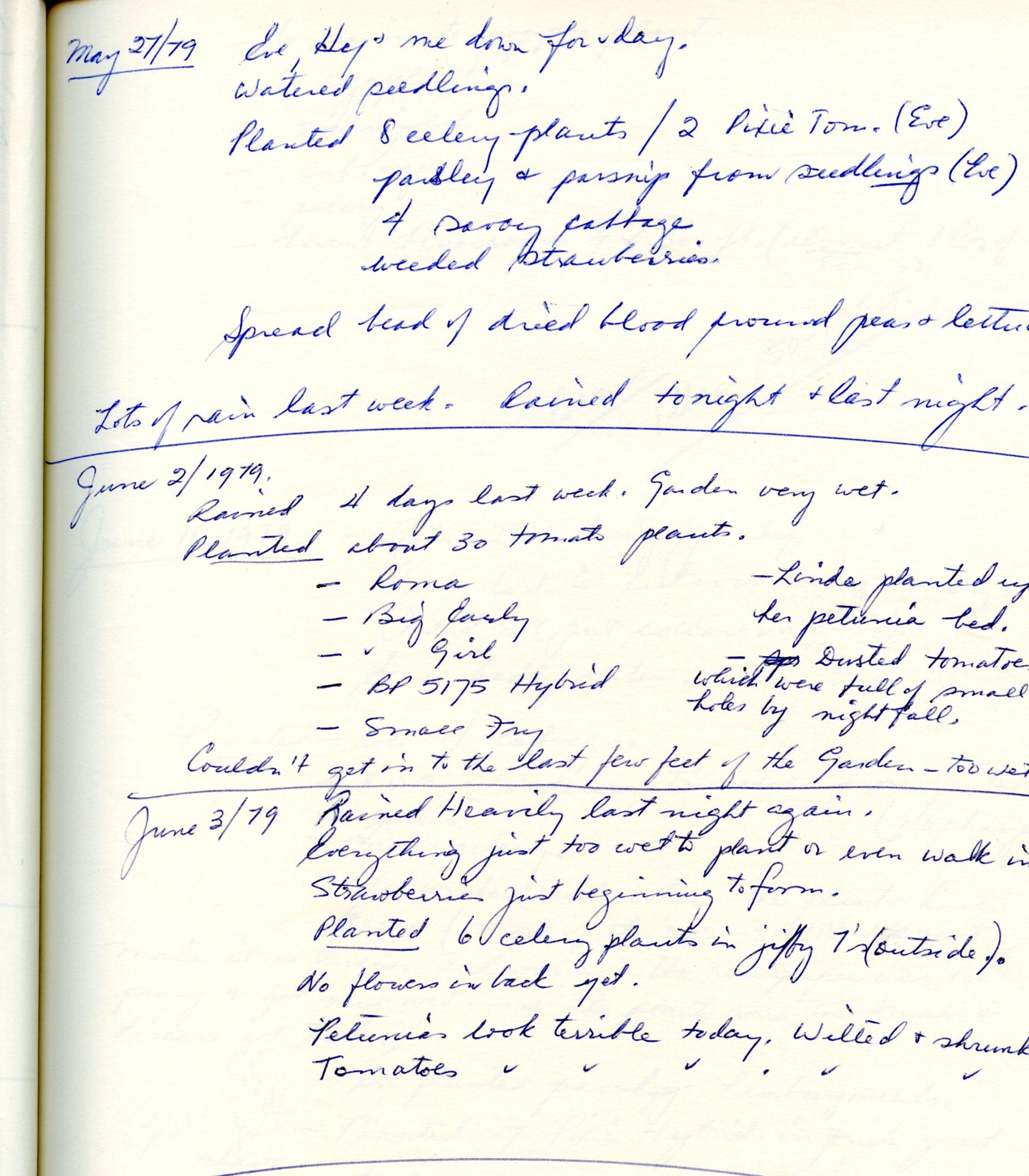 Handwritten page from a gardening journal